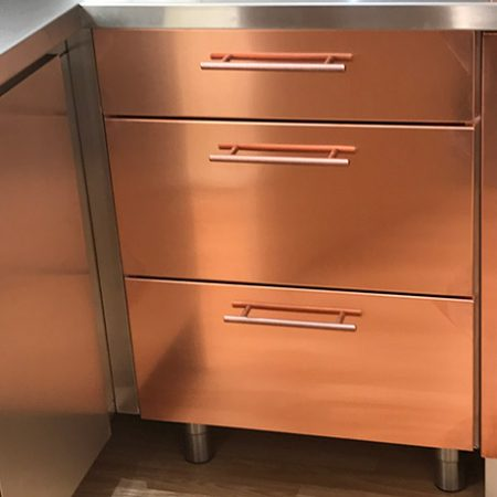 Copper Drawer Front 140mm high x 397mm wide x 19.5mm
