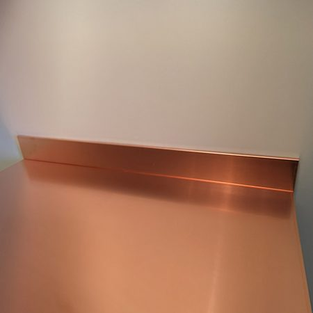 1800mm length x 100mm high x 10mm depth Copper Upstands