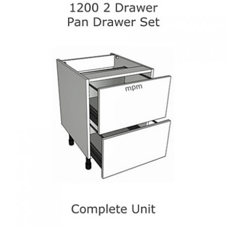 Hybrid 1200mm wide 2 Drawer Pan Set Base Units