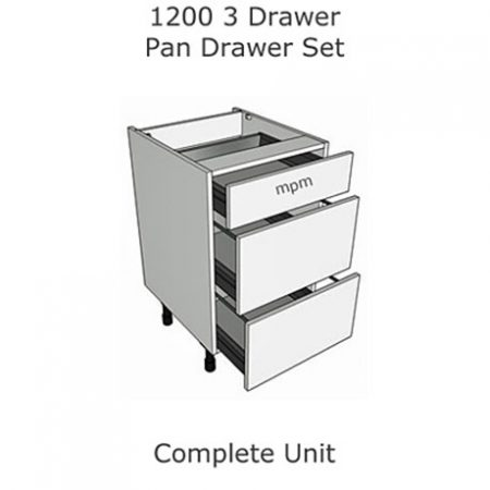 1200mm wide 3 Drawer Pan Set Base Units