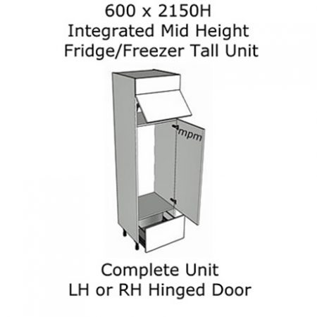Hybrid 600mm wide x 2150mm high Mid-height Fridge-Freezer Tall Units