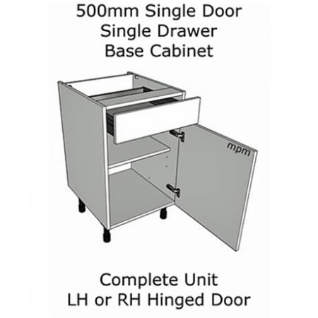 500mm wide Single Door, Single Drawer Base Units