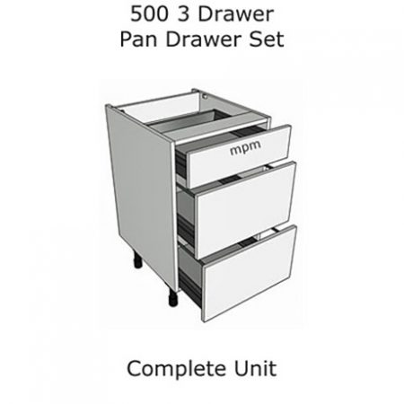 500mm wide 3 Drawer Pan Set Base Units