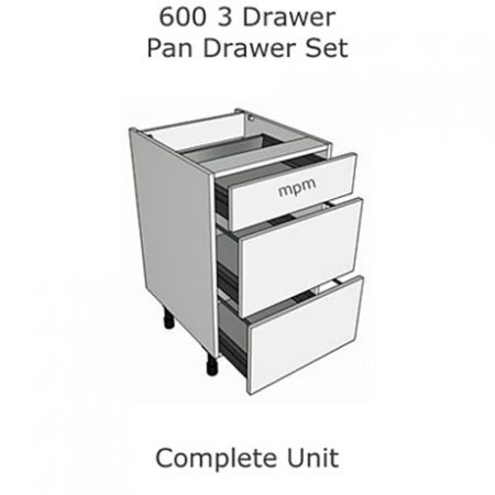 Hybrid 600mm wide 3 Drawer Pan Set Base Units