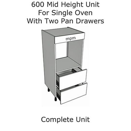 600mm wide Mid Height Single Oven, 2 Drawer Pan Set Units