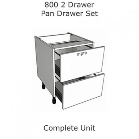 Hybrid 800mm wide 2 Drawer Pan Set Base Units