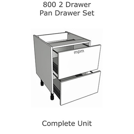 Hybrid 800mm wide 2 Drawer Pan Set Base Units