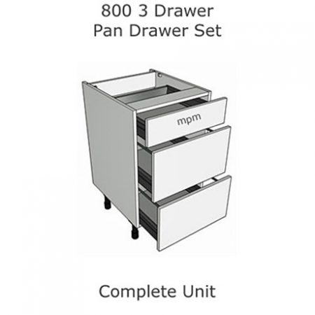 Hybrid 800mm wide 3 Drawer Pan Set Base Units