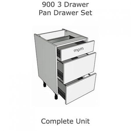 900mm wide 3 Drawer Pan Set Base Units