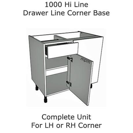 1000mm Hi Line Drawer Line Corner Base Units