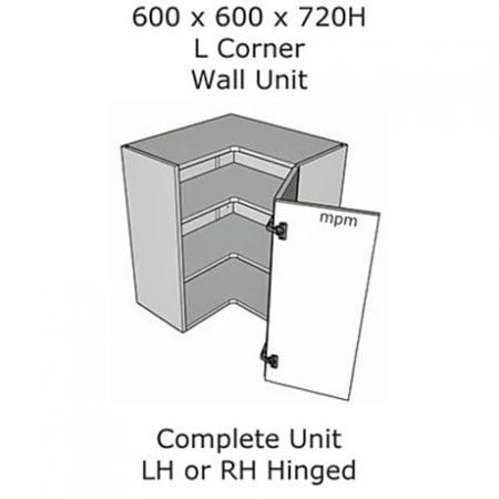 600mm x 600mm wide x 720mm high L Shaped Corner Wall Units