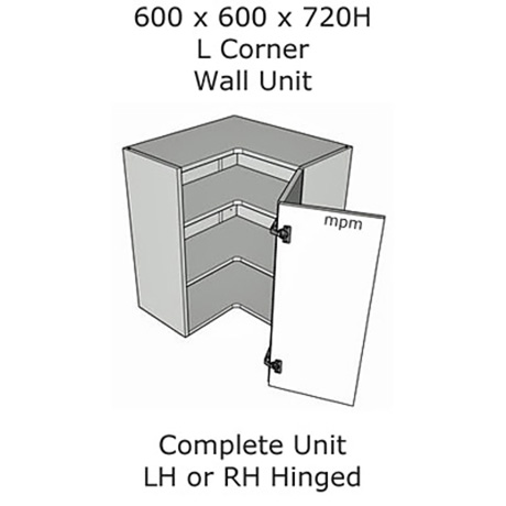 600mm x 600mm wide x 720mm high L Shaped Corner Wall Units