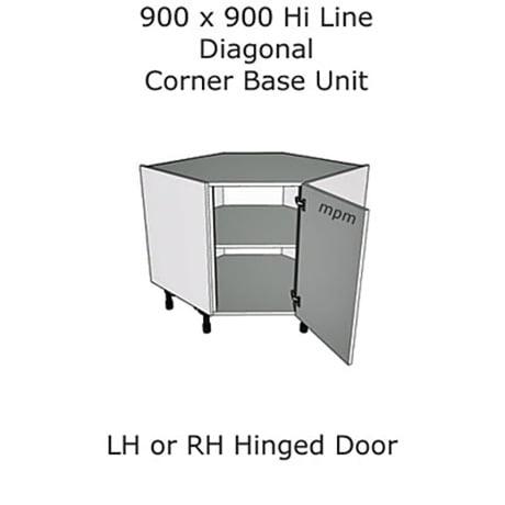 900mm x 900mm Hi Line Diagonal Corner Base Units