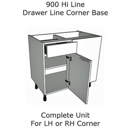 900mm Hi Line Drawer Line Corner Base Units