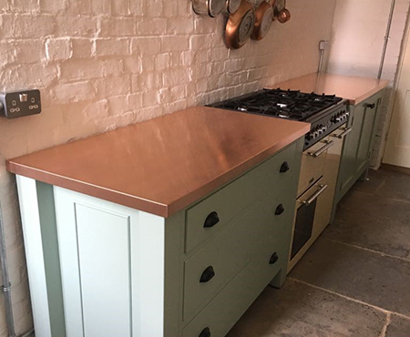 Standard size copper worktops
