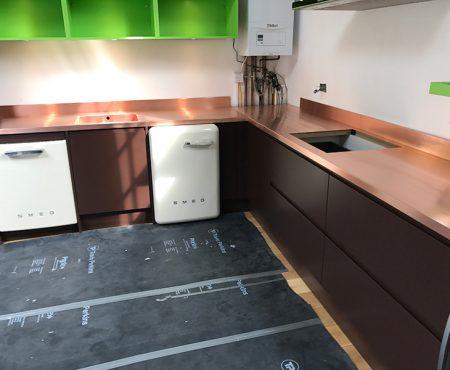 Bespoke Copper Kitchen Fitted Worktops