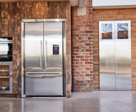 Stainless steel bespoke kitchen glazed doors