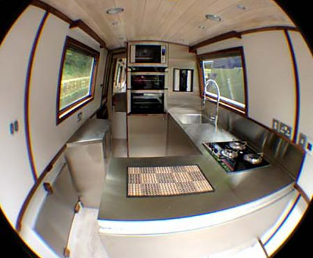 Stainless steel kitchen canal boat