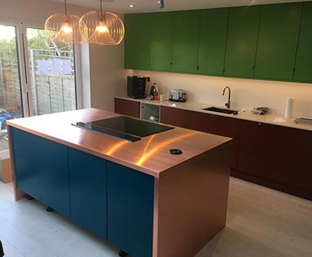 Bespoke Kitchen Copper Worktop islands