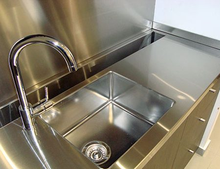 Small Shop Fitted Stainless Steel Kitchen