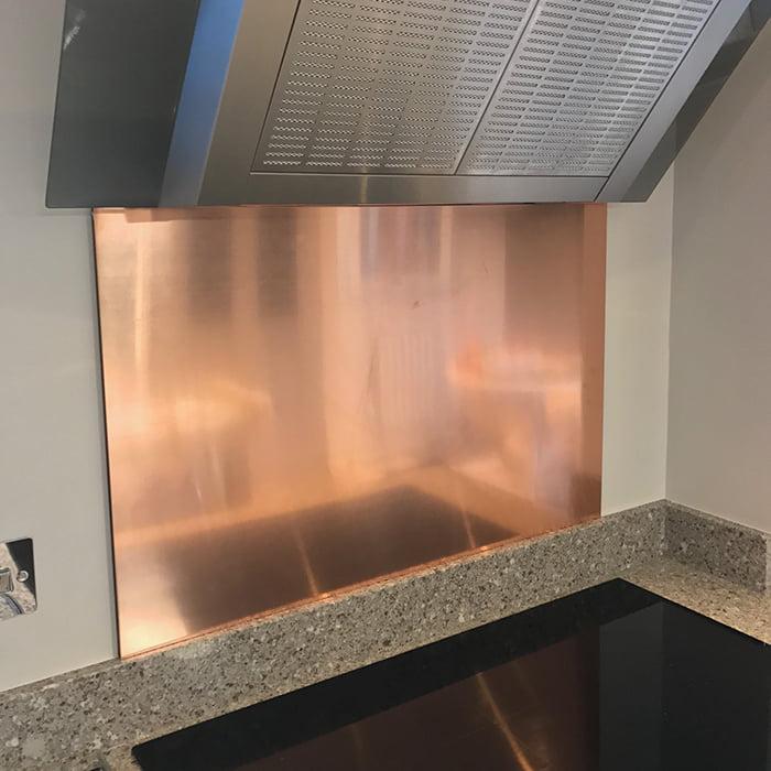 900mm wide x 750mm high x 10mm Natural Finish Copper Splashback