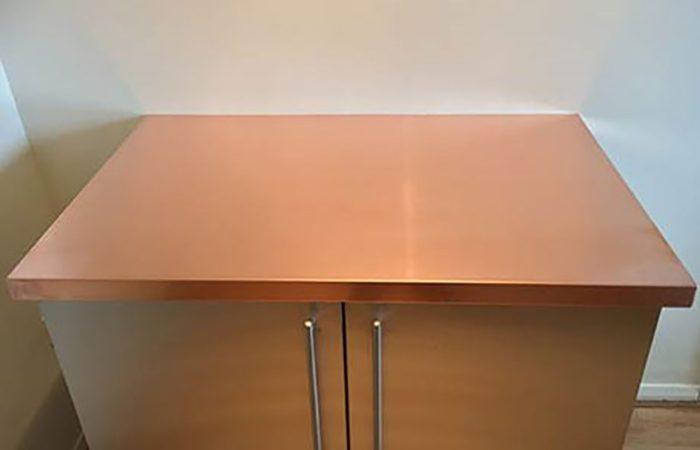 1200mm length x 600mm wide x 40mm high Copper Worktops