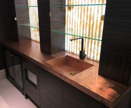 Made To Measure Copper Worktops Sinks and Drainers