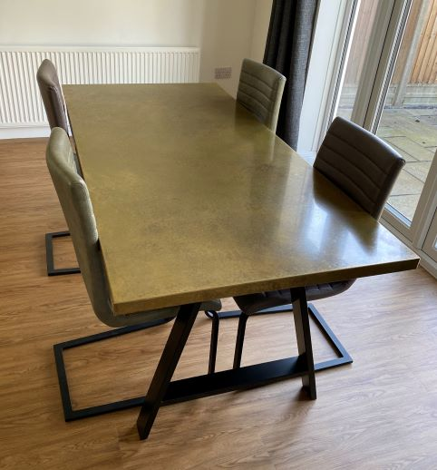 Aged Brass Dining Table 2400mm x 900mm