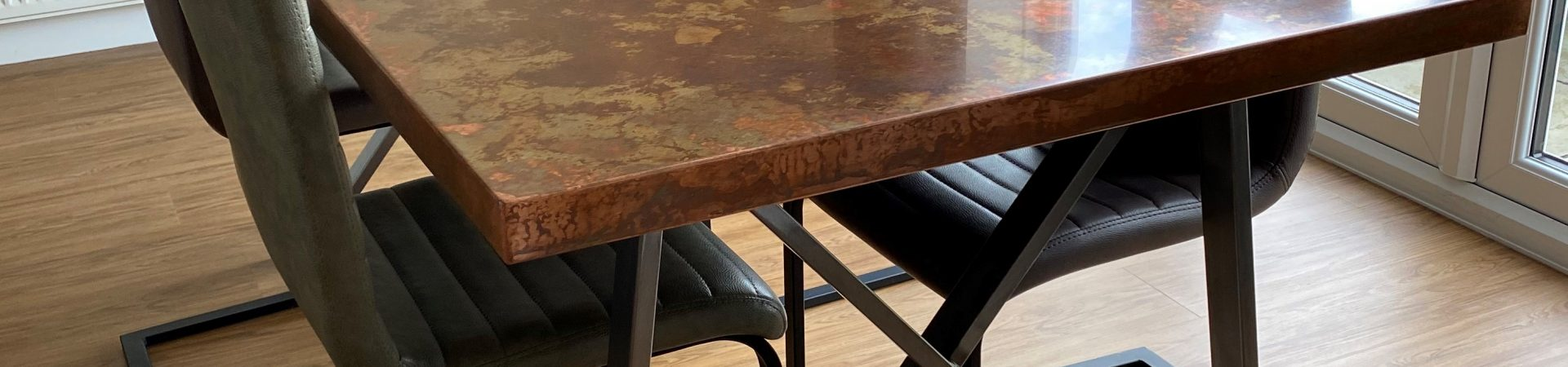 Aged copper Dining Table